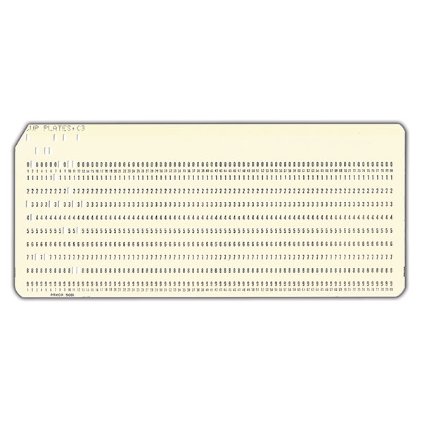 Original punch card used in Kovels' 1968 price guide.
