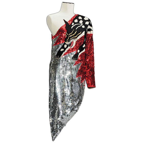 asymmetrical dress embroidered sequins with a tiger image over one shoulder kansai yamamoto 1978-80