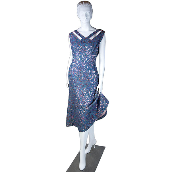 blue silk and lace blue dress with pink satin lined and open shoulder accent side zipper 1940s
