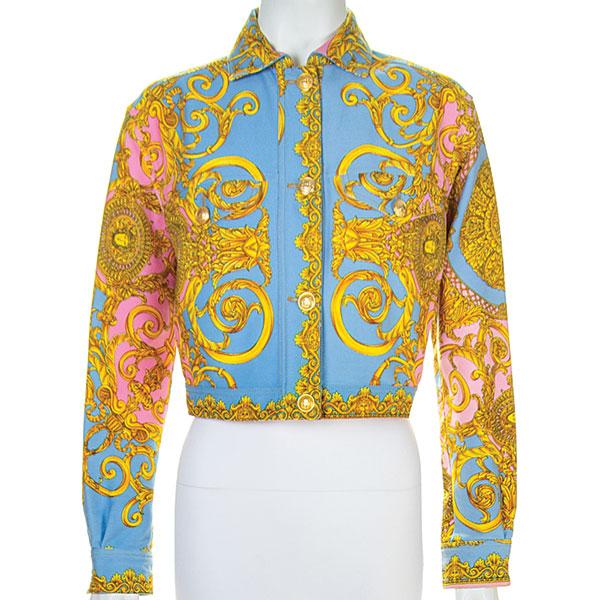medusa print baroque jacket chest pockets cotton gianni versacew 1992