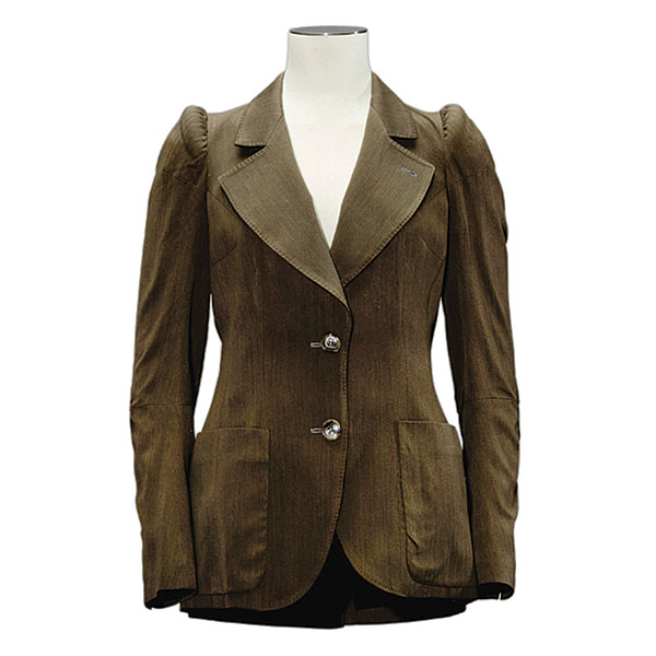 brown fitted cotton jacket padded shoulders martin margiela 1989