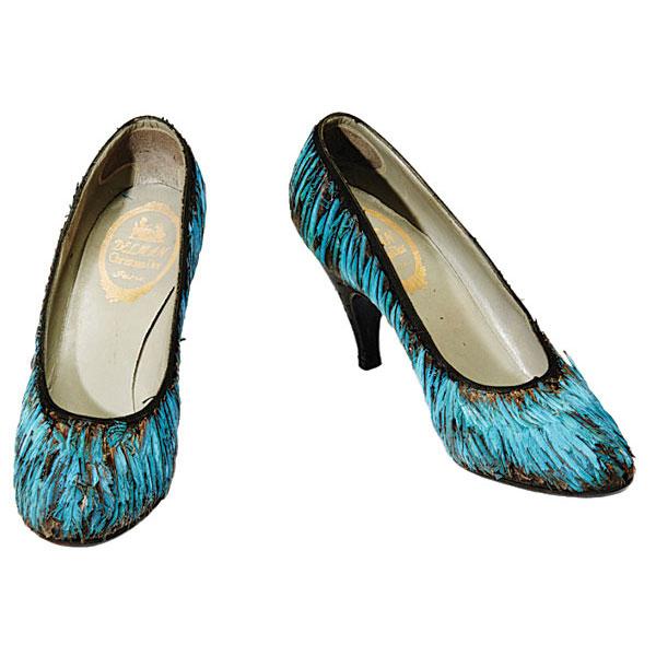 blue stilettos kingfish feathers louis xv heels christian dior delman 1953-55