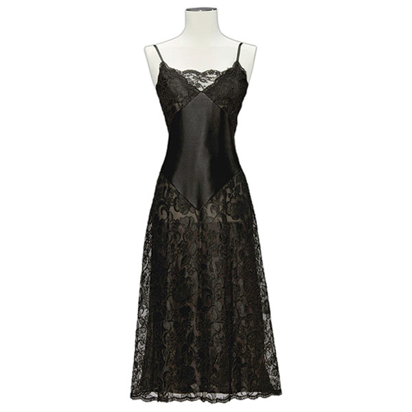 black satin and lace guipure slip yves saint laurent 1970