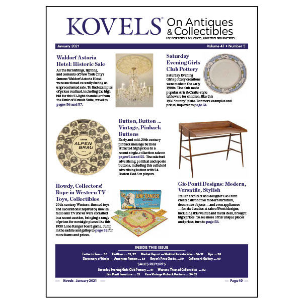 Kovels On Antiques & Collectibles January 2021 Newsletter