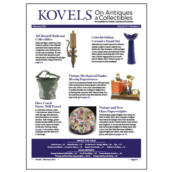 Kovels On Antiques & Collectibles February 2021 Newsletter