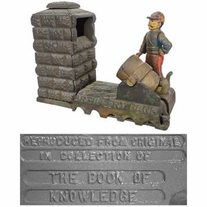 Artillery mechanical bank, cast iron, reproduction, Book of Knowledge