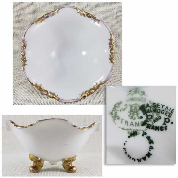 limoges white bowl with gold trim france