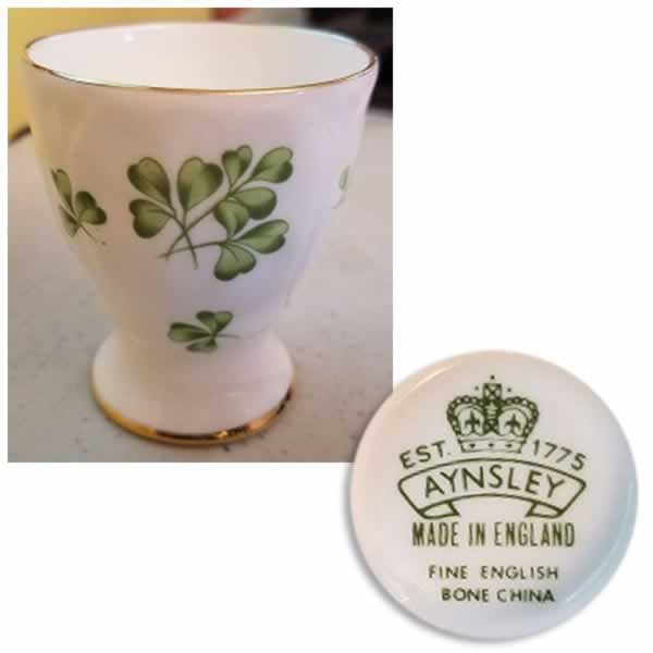 aynsley bone china shamrock eggcup