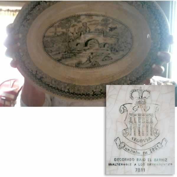 """Mark """"S.V. SEGOVIA Fundado en 1861. Decorado bajo el barniz, Inalterablea los Detergentes. 7811"""""""