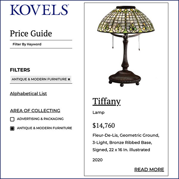 kovels 2020 price guide search results