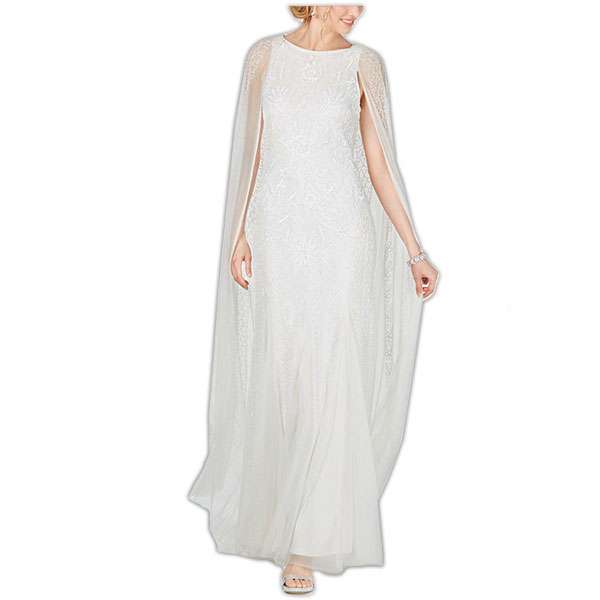 1920s-style caped wedding dress