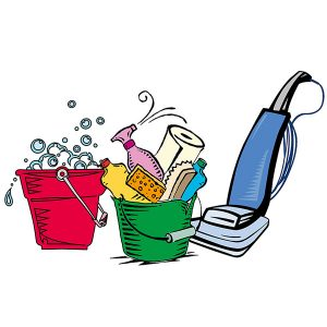cleaning products bucket of soapy water sponge spray bottle paper towel brush vacuum cleaner