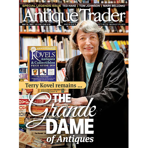 Terry Kovel in the cover of Antique Trader Magazine May 2021 edition.