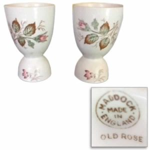 Maddock Made in England Old Rose Egg Cups and Mark