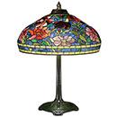 a colorful umbrella next to a lamp